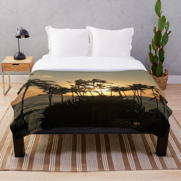 Sunset and palm trees in Hawaii Throw Blanket
