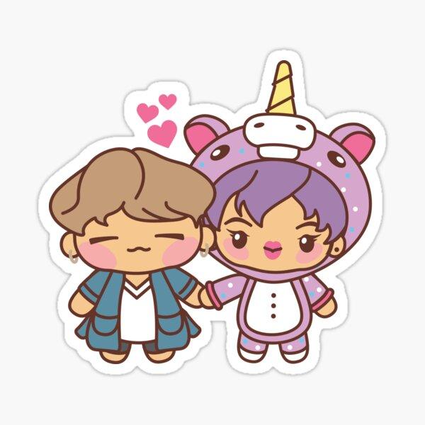 YoonJin Pajama Party - BTS Yoongi and Jin in PJ's ~BTS Pajama Party~ Sticker