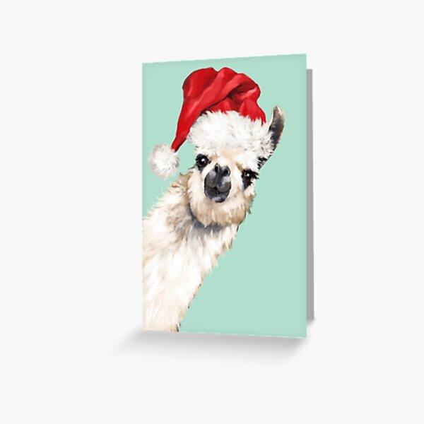 Christmas Sneaky Llama in Green Greeting Card