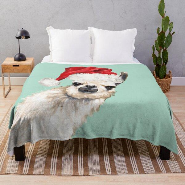 Christmas Sneaky Llama in Green Throw Blanket