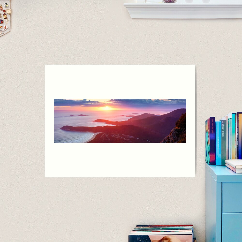 Sunset from Mt Oberon, Wilsons Promontory, Victoria Australia Art Print
