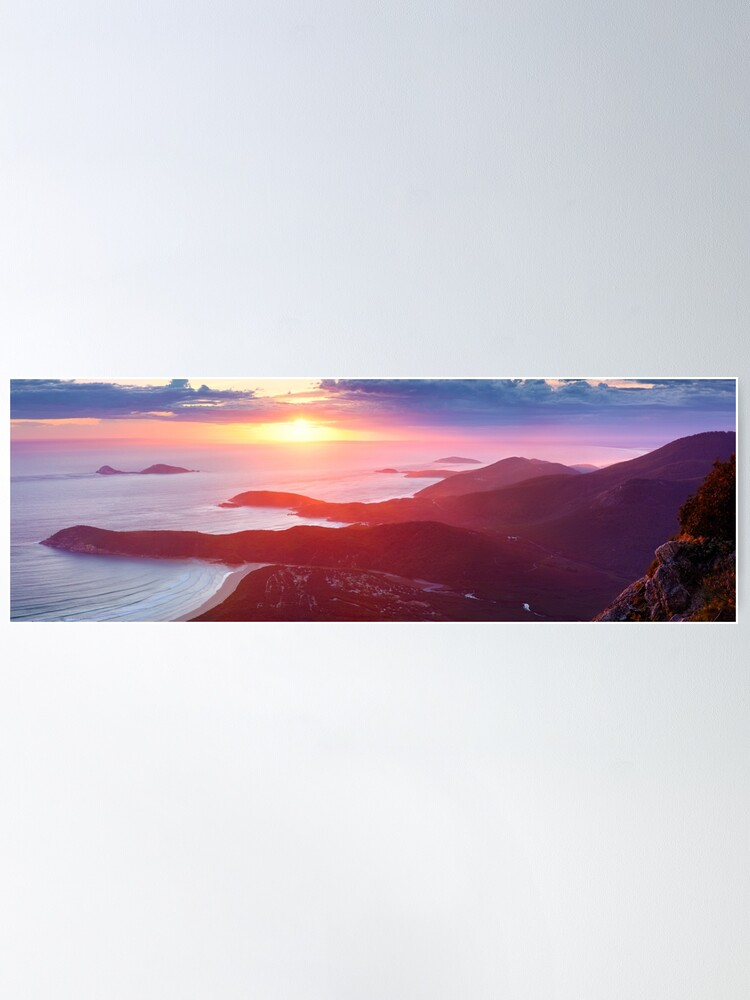 Alternate view of Sunset from Mt Oberon, Wilsons Promontory, Victoria Australia Poster