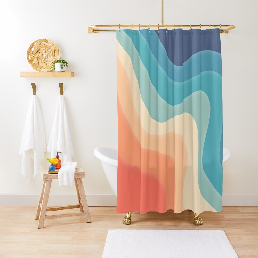 Retro color wave Shower Curtain