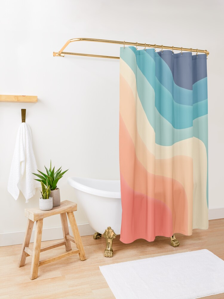 Alternate view of Retro color wave Shower Curtain