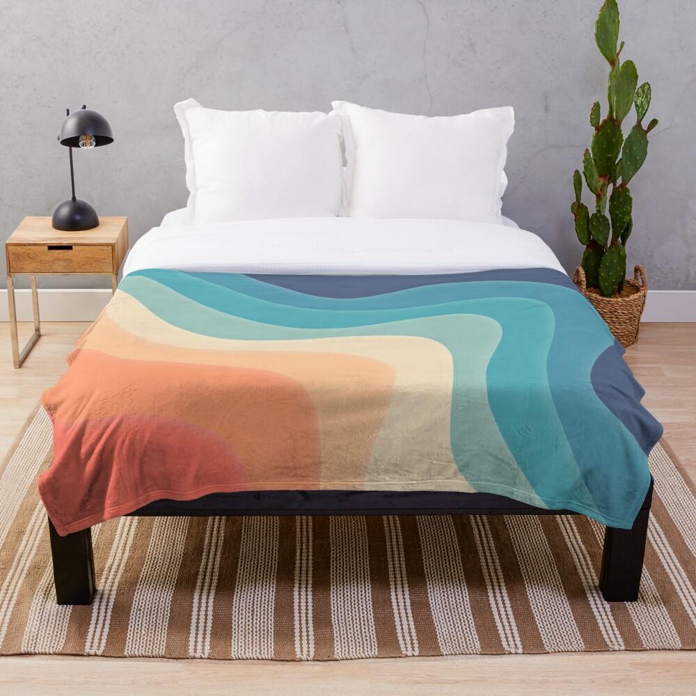 Retro color wave Throw Blanket