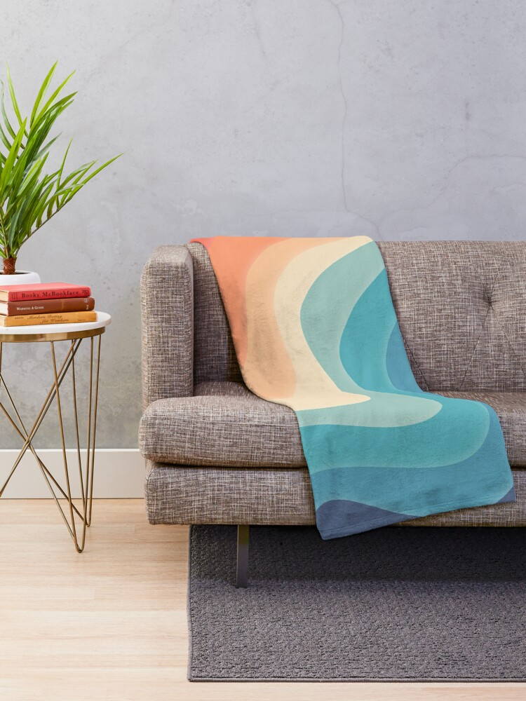 Alternate view of Retro color wave Throw Blanket