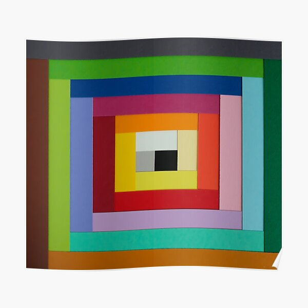 Square spiral of colors Poster