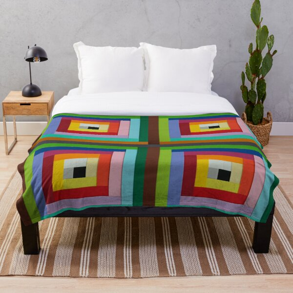 Square spiral of colors Throw Blanket