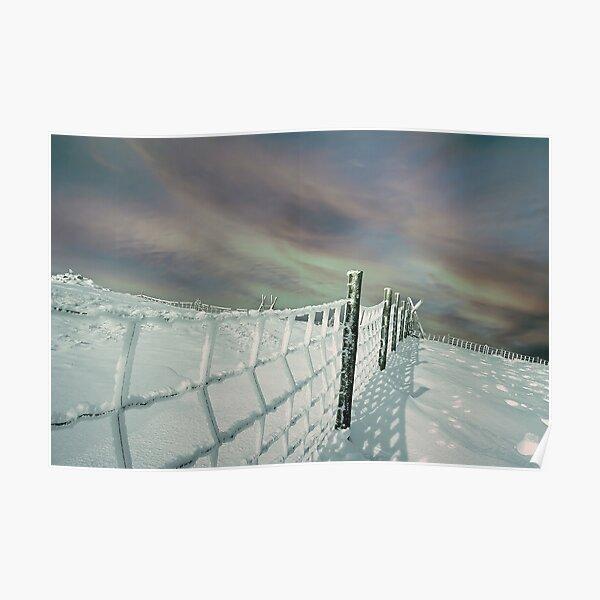 Snow landscape Berwyn Fence line Poster