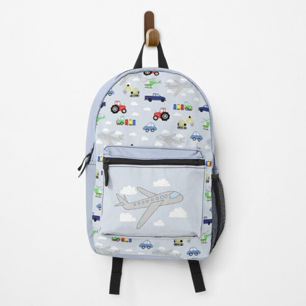 Kids Cute Whimsical Boys Blue Transportation Pattern with Airplanes, Tractors, Trains, Cars, and Diggers Backpack