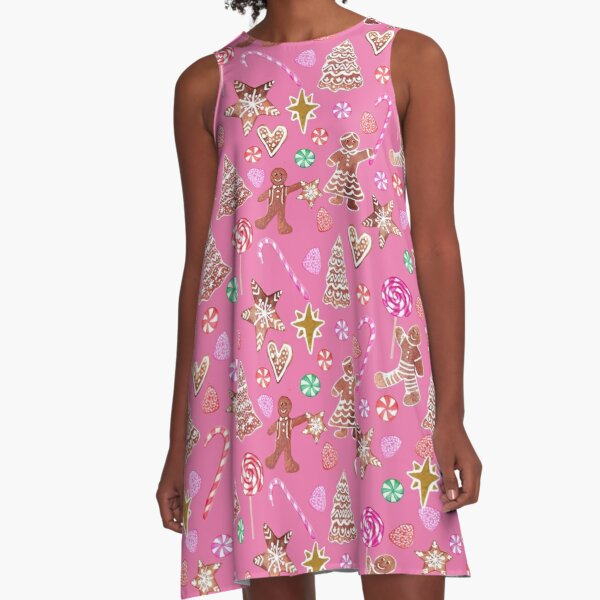 Christmas Gingerbread people, candy canes and sweets A-Line Dress