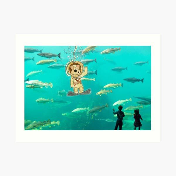 Funny Dog Painting / Photography - Diver Molly Waving to Kids Art Print