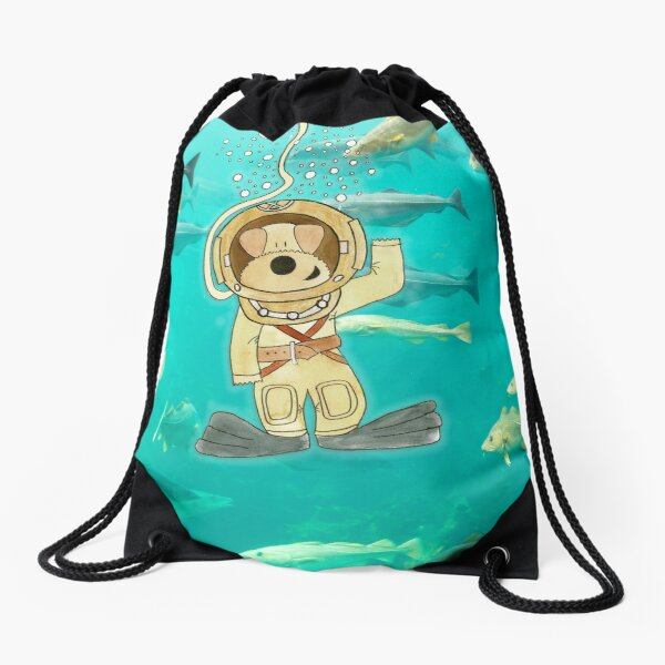 Funny Dog Painting / Photography - Diver Molly Waving to Kids Drawstring Bag