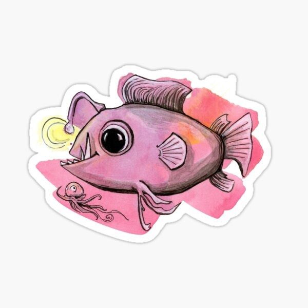 Angler Fish and Friend - by Amy Preveza Sticker