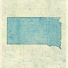 South Dakota State Map Blue Vintage by HubertRoguski