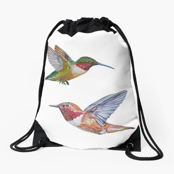 Hummingbirds set (Rufous & Ruby throated) Drawstring Bag