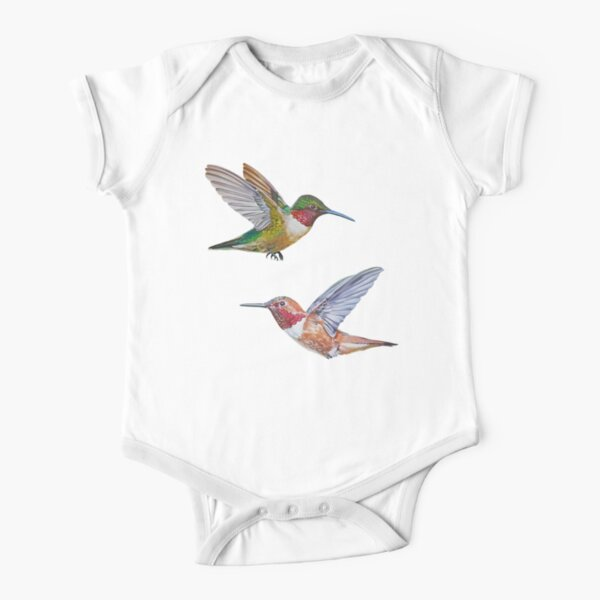 Hummingbirds set (Rufous & Ruby throated) Short Sleeve Baby One-Piece