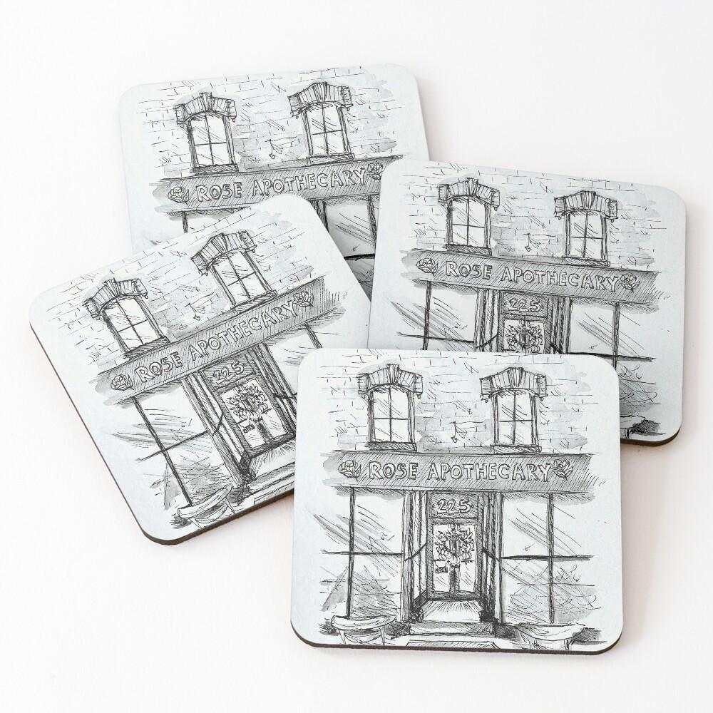 Rose Apothecary Original Ink Illustration Coasters (Set of 4)