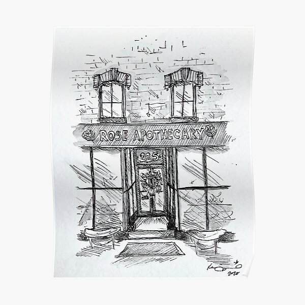 Rose Apothecary Original Ink Illustration Poster