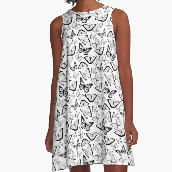 Black and White Butterflies Nature Pattern A-Line Dress