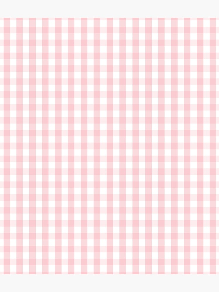 White and Light Millennial Pink Pastel Color Gingham Check by podartist