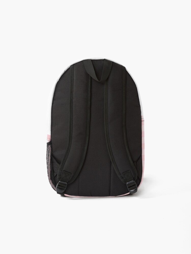 Alternate view of White and Light Millennial Pink Pastel Color Gingham Check Backpack