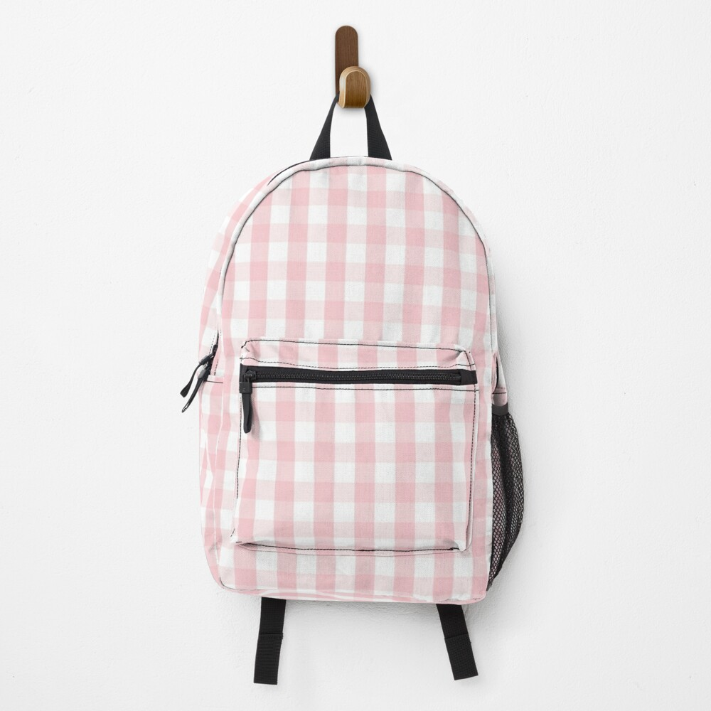 White and Light Millennial Pink Pastel Color Gingham Check Backpack