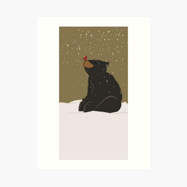Winter Bear and Cardinal: With you, always Art Print