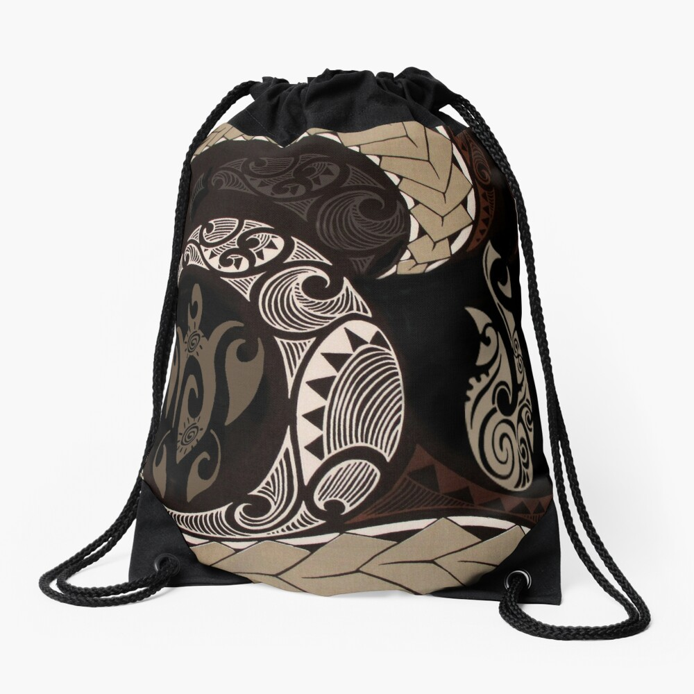 Hawaiian Tapa Fish Hook and Honu Drawstring Bag