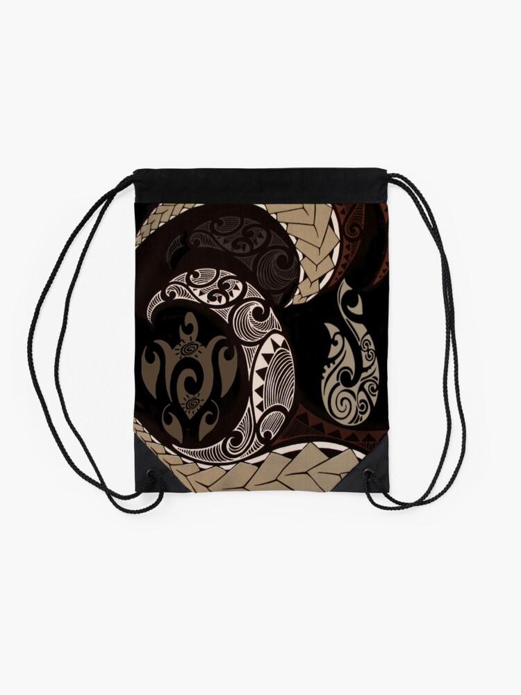 Alternate view of Hawaiian Tapa Fish Hook and Honu Drawstring Bag