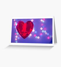 Red heart on blue background Greeting Card