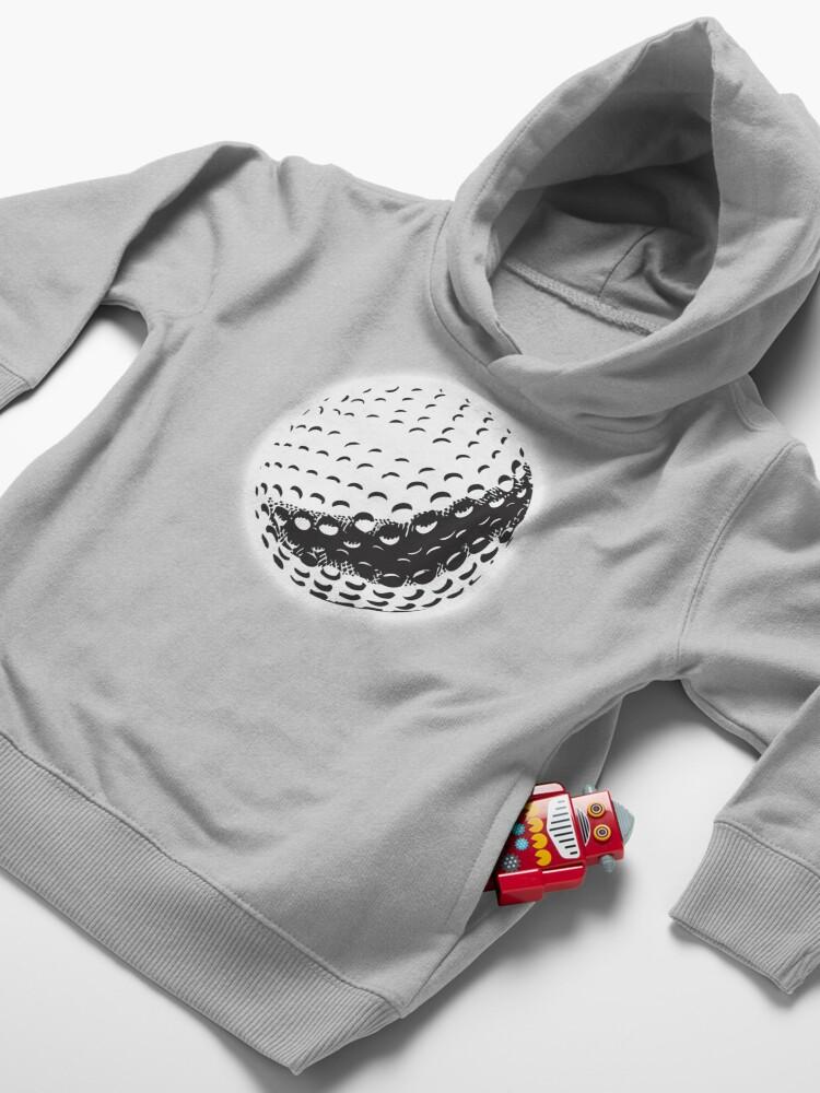 Alternate view of GOLF BALL, SPORT, Golfing, Golf, Black on White. Toddler Pullover Hoodie