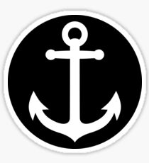 anchor inside black circle Sticker