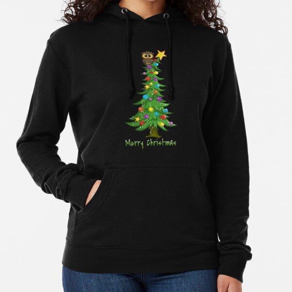 The Owl's Christmas Tree Lightweight Hoodie
