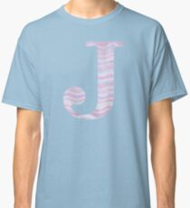 Initial J Rose Quartz And Serenity Pink Blue Wavy Lines Classic T-Shirt