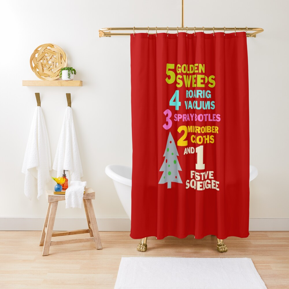 1 Festive Squeegee Funny Christmas Cleaning Humor Shower Curtain