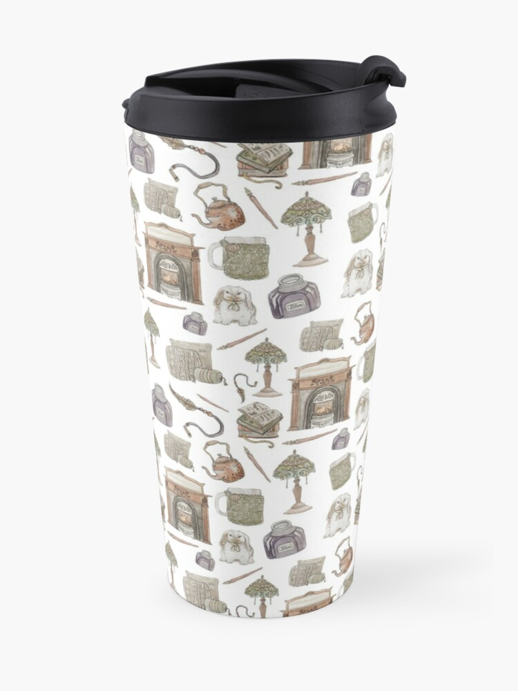 Alternate view of Hearth Witch Pattern with White Background Travel Mug