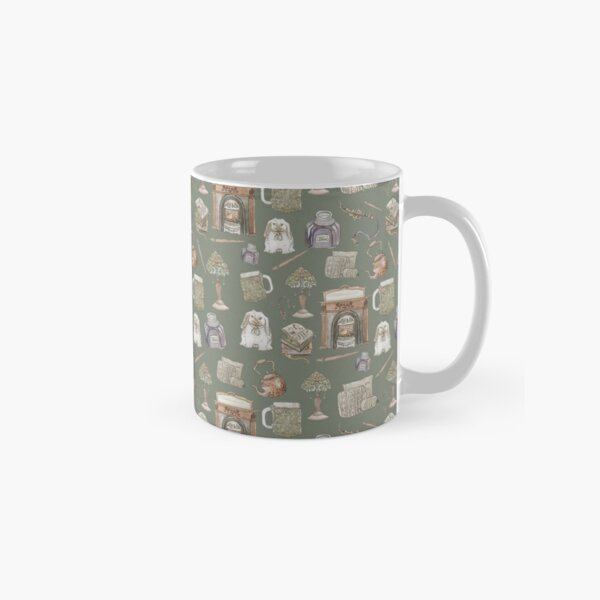 Hearth Witch Pattern with Green Background Classic Mug