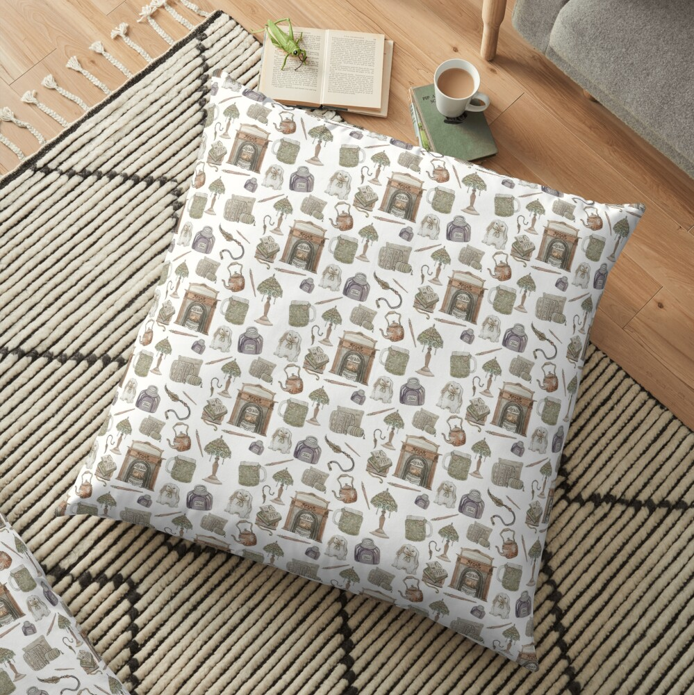 Cozy Hearth Witch with White Background Floor Pillow