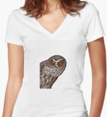 Brown Owl Women's Fitted V-Neck T-Shirt