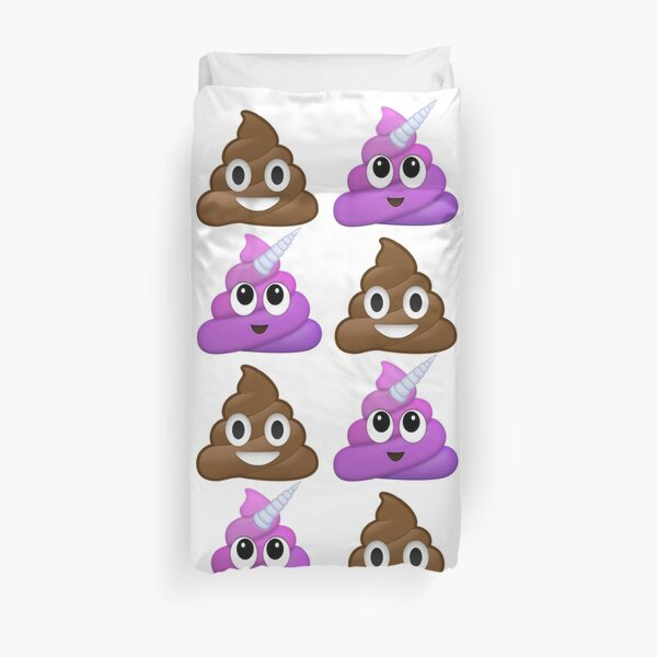Brown and purple smiling poop Duvet Cover