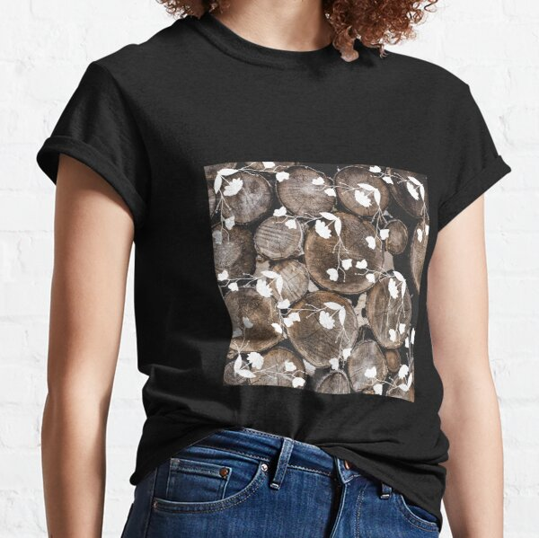 Wooden logs with white floral design Classic T-Shirt