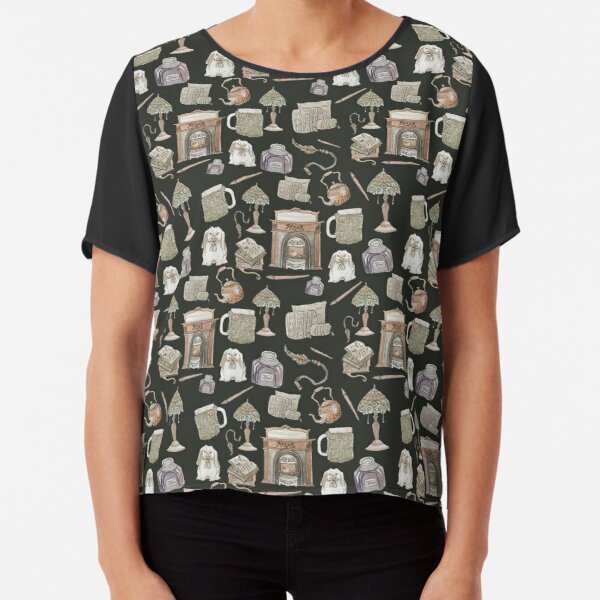 Cozy Hearth Witch with Dark Background Chiffon Top