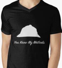"""Sherlock Holmes """"You Know My Methods"""" (White) Men's V-Neck T-Shirt"""