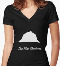 "Sherlock Holmes ""The Plot Thickens"" (White) Women's Fitted V-Neck T-Shirt"