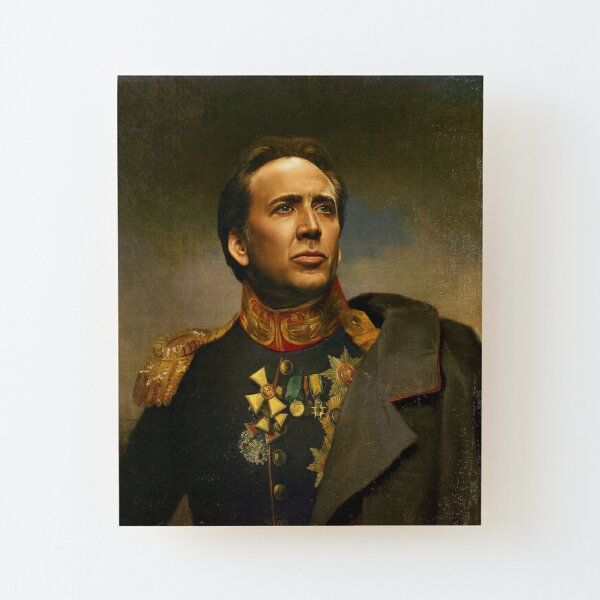 Nicolas Cage - replaceface Wood Mounted Print