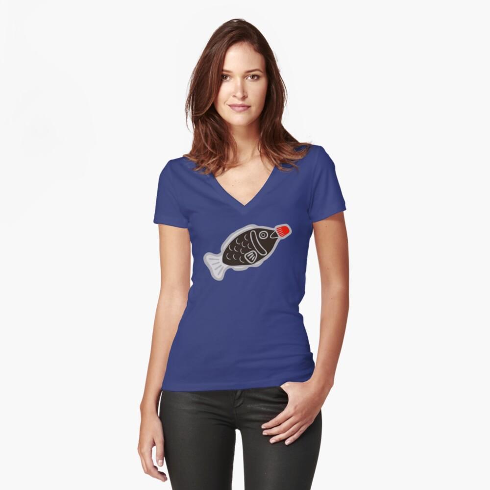 Sushi Fish Fish Pattern en azul Camiseta entallada de cuello en V