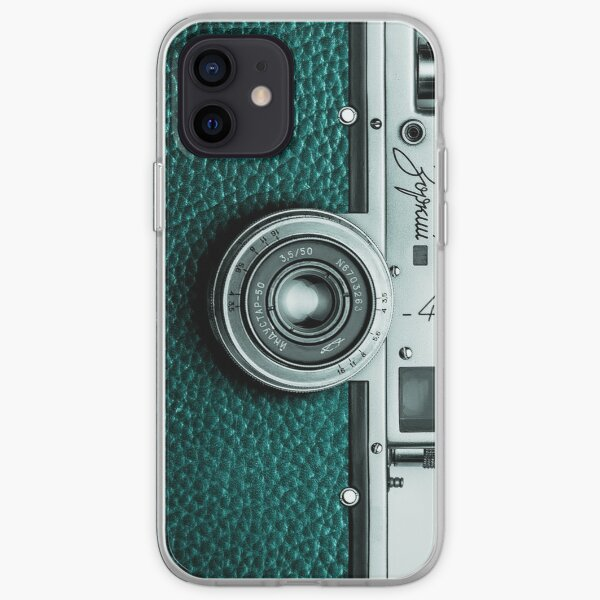 Retro camera with turquoise leather for stylish photographer gift iPhone Soft Case
