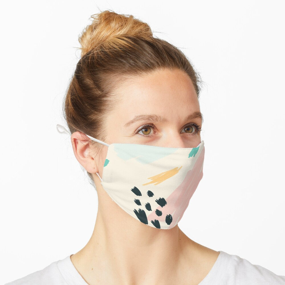 Artistic Painted Blue Pink Retro Graphic Gift Mask