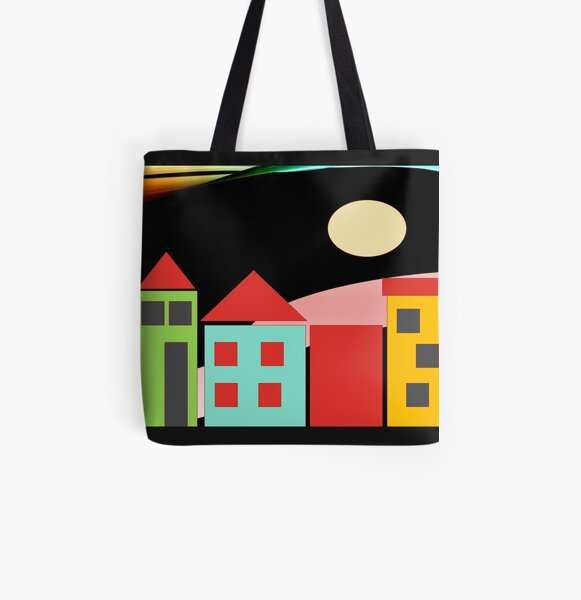 Black Red Blue Yellow Orange Pink Blue Green Teal Home Sweet Home All Over Print Tote Bag